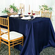 "90""x 156"" Rectangular Satin Tablecloth - Navy Blue 55723(1pc/pk)"