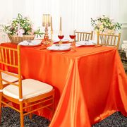 "90""x 156"" Rectangular Satin Tablecloth - Orange 55733(1pc/pk)"