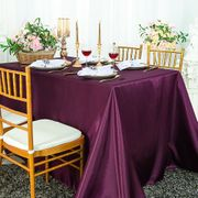 "90""x 156"" Rectangular Satin Tablecloth - Plum 55765(1pc/pk)"
