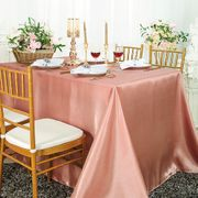 "90""x 156"" Rectangular Satin Tablecloth - Rose Pink 55707(1pc/pk)"
