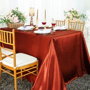 "90""x 156"" Rectangular Satin Tablecloth - Rust 55747(1pc/pk)"
