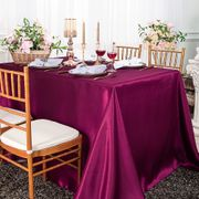 "90""x 156"" Rectangular Satin Tablecloth - Sangria 55766(1pc/pk)"