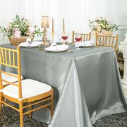 "90""x 156"" Rectangular Satin Tablecloth - Silver 55740(1pc/pk)"