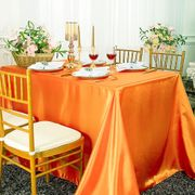"90""x 156"" Rectangular Satin Tablecloth - Tangerine 55751(1pc/pk)"