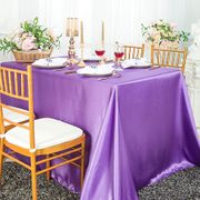 "90""x 156"" Rectangular Satin Tablecloth - Victoria Lilac 55753(1pc/pk)"