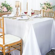 "90""x 156"" Rectangular Satin Tablecloth - White 55701(1pc/pk)"