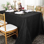 90x156 Rectangular Paillette Poly Flax / Burlap Tablecloth - Black 11139 (1pc/pk)