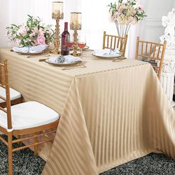 "90""x 156"" Striped Rectangular Damask Polyester Tablecloth - Champagne 86928 (1pc/pk)"