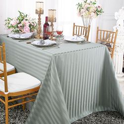 "90""x 156"" Striped Rectangular Damask Polyester Tablecloth - Silver 86940 (1pc/pk)"