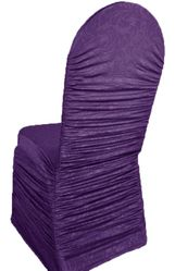 Embossed Vintage Rouge Spandex Banquet Chair Covers - Eggplant 62745(1pc/pk)