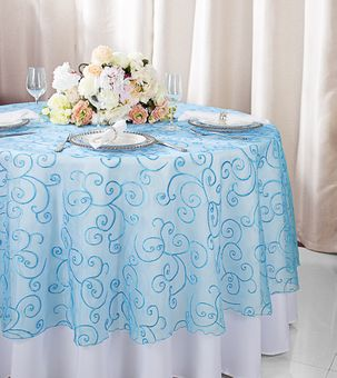 """90"""" Round Embroidered Organza Table Overlays (31 colors)"""