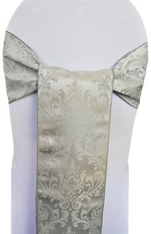 """7.5""""x 108"""" Floral Jacquard Damask Polyester Chair Sashes - (14 colors)"""
