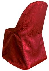 Damask Jacquard Polyester Folding Chair Cover - Apple Red 97108 (1pc/pk)