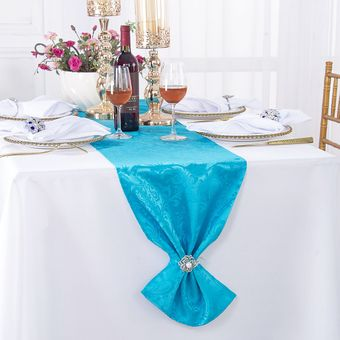 """12""""x 108"""" Floral Jacquard Damask Polyester Table Runners (14 colors)"""