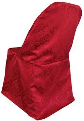 Marquis Jacquard Damask Polyester Folding Chair Cover - Apple Red 99108(1pc/pk)