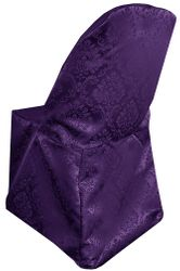 Marquis Jacquard Damask Polyester Folding Chair Cover - Eggplant 99145(1pc/pk)