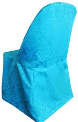 Marquis Jacquard Damask Polyester Folding Chair Cover - Turquoise 99185(1pc/pk)