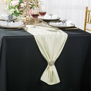 """Clearance 13""""x 108"""" Scuba (Wrinkle-Free) Table Runner - Ivory 20202 (1pc)"""