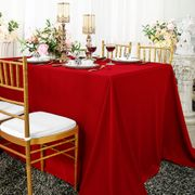 "90""x 156"" Seamless Rectangular Scuba (Wrinkle-Free) Tablecloth  - Red 21212 (1pc/pk)"