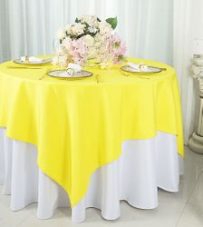 "54""x 54"" Square Polyester Table Overlay Toppers - Canary Yellow 51416 (1pc/pk)"