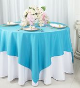 "54""x 54"" Square Polyester Table Overlay Toppers - Turquoise 51485 (1pc/pk)"