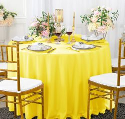 "120"" Seamless Round Scuba (Wrinkle-Free) Tablecloth - Canary Yellow 20616 (1pc/pk)"
