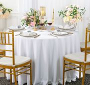 """Clearance 132"""" Round Scuba (Wrinkle-Free) Tablecloth - White 20701 (1pc/pk)"""