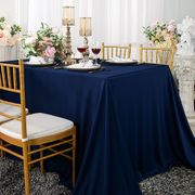 "Clearance 90""x 156"" Seamless Rectangular Scuba (Wrinkle-Free) Tablecloth  - Navy Blue 21223 (1pc/pk)"