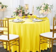 "132"" Round Scuba (Wrinkle-Free) Tablecloth - Canary Yellow 20716 (1pc/pk)"
