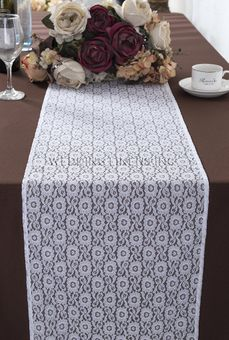 Water Lily Raschel Lace Table Runners (3 Colors)