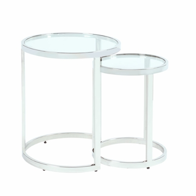 """Chintaly - 20"""" Round Glass Nesting Lamp Table - 5509-LT-NST"""