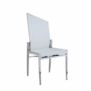 Chintaly - Nala Contemporary Motion Back Side Chair with Polished Ss in White Set of 2 - NALA-SC-WHT-POL