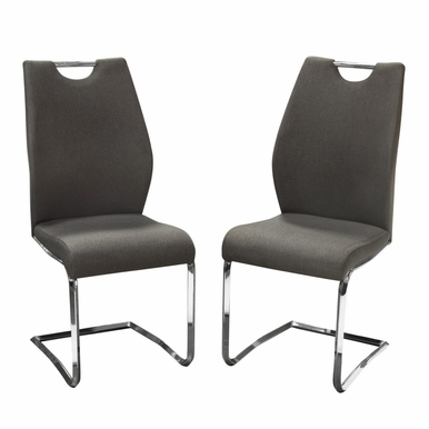 Diamond Sofa - Set of (2) London Dining Chairs in Grey Fabric with Chrome Base - LONDONDCGR2PK