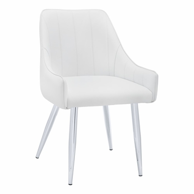 """Monarch Specialties - Dining Chair (Set Of 2) 33""""H White Leather Look Chrome - I-1184"""