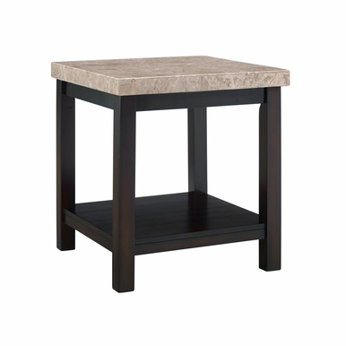 Picket House Furnishings - Caleb End Table With Marble Top in Espresso - CKS100ETE
