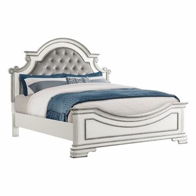 Picket House Furnishings - Caroline Button Tufted King Panel Bed in Antique White - LH700KB