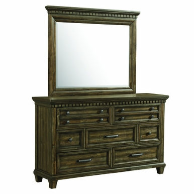 Picket House Furnishings - Johnny 7 Drawer Dresser With Mirror Set in Smokey Walnut - MB600DRMR
