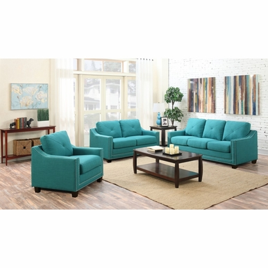 Picket House Furnishings - Mauldin 3PC Sofa Set in Teal - UMO0873PC