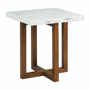 Picket House Furnishings - Meyers Marble Square End Table in White - CTMS100ETE