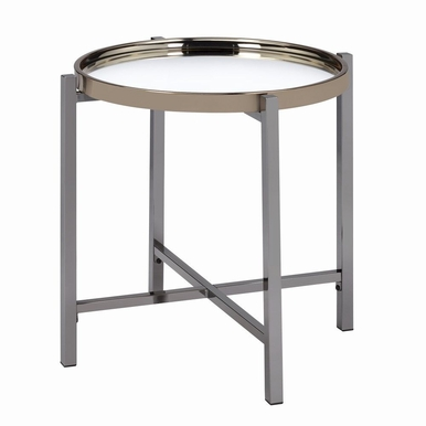 Picket House Furnishings - Monaco Round End Table in Gold Slate - CEH100ETE
