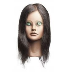 "Angel Deluxe Mannequin (Extremely Tan Face) Head, 14-17"" Level 2, 100% Human Hair"