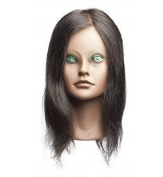 """Angel Deluxe Mannequin (Extremely Tan Face) Head, 14-17"""" Level 2, 100% Human Hair"""