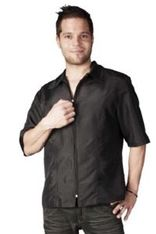 Barber Cover up Shirt, Short sleeve Black Nylon