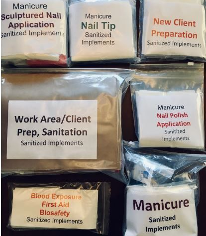 Delaware Nail Tech, 7 Task Bags, DE35554 with Disinfectant WIPES