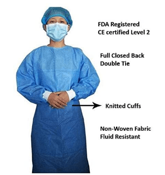 Level 2 Disposable Medical Gown_Disposable Isolation Gown, FDA Registered, CE certified Level 2 PP & PE 40g, Fully Closed Double Tie Back, Knitted Cuffs, Fluid Resistant, Unisex