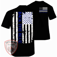 THIN BLUE LINE BACK THE BLUE BLACK T-SHIRT
