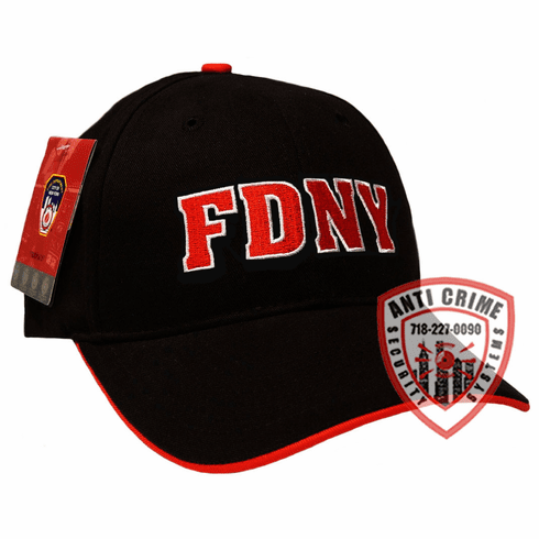 FDNY BASEBALL STYLE CAP BLACK WITH RED EMBROIDERED LETTERS
