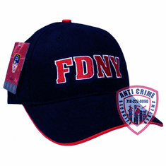 FDNY BASEBALL STYLE CAP NAVY BLUE WITH RED EMBROIDERED LETTERS