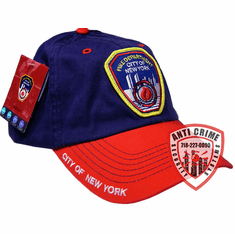 FDNY BASEBALL STYLE CAP WITH OFFICIAL EMBROIDERED LOGO BLUE/RED