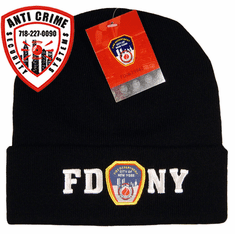 FDNY BLACK WINTER FOLDOVER KNIT HAT WITH WHITE EMBROIDERED LETTERS